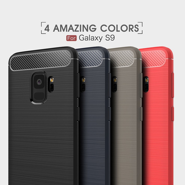 10PCS CellPhone Cases For Samsung Galaxy S9 TPU Carbon Fiber heavy duty case for Galaxy S9 Plus cover Free shipping
