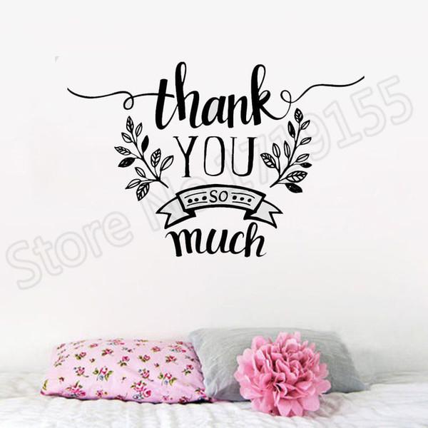 Compre Thank You So Mach Decoración Vinly Tatuajes De Pared Frases De Agradecimiento Pegatinas Para El Arte Del Dormitorio Mural Wall Stickers