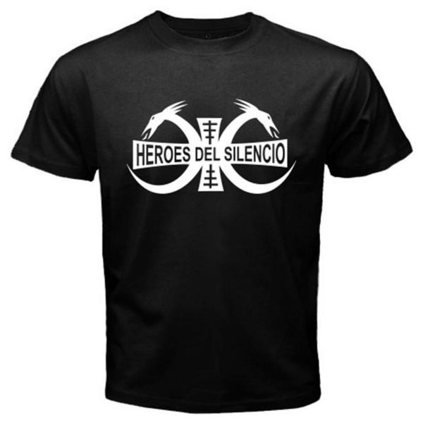 Printed Tee Shirts Men's Short Cotton Crew Neck Heroes Del Silencio Rock Band Logo Men's Black T-Shirt Sizes S To 3XL Free