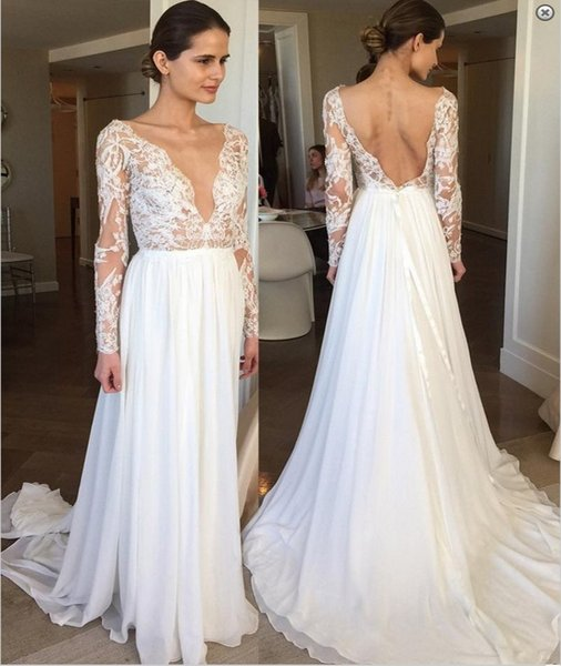 A Line Deep V Neck Wedding Dress With Long Sleeves Sexy Backless Boho Lace Chiffon Beach Bridal Gowns Bohemian Country Vestido De Novia