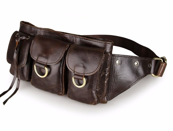 Fashion genuine leather waist Pack men leather waist Bag for men money belt bag Bum fanny pack Pouch small Shoulder