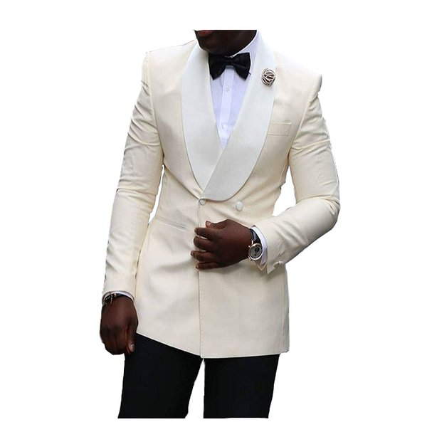 Custom Made Ivory Uomo Abiti da sposa Doppiopetto Smoking dello sposo Scialle Risvolto Best Man Blazer Bridgroom Groomsmen 2 Pezzi Jacket + Pants