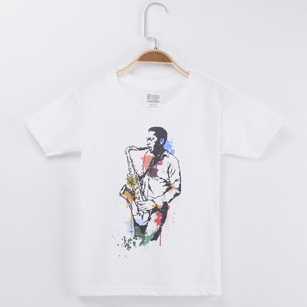 2018 Spring Autumn Kids T-shirt For Children Jazz Saxophone Played Print 100% Cotton Boys Short Sleeves T Shirts Baby Girls Clothes Tops Tee