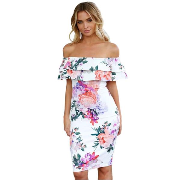 Vestidos blancos para mujeres 2018 Fashionnova Ladies Party Dress Casual Summerdress Slash Neck Ruffles tallas grandes ropa para mujeres