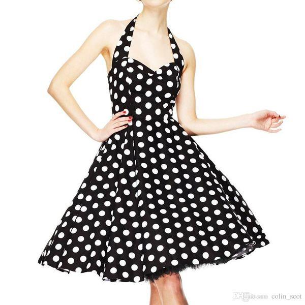 Summer Women Vintage Dress Vestidos 50s Robe Retro Polka Dot Rockabilly Swing Sexy Backless Party Dress Plus Size
