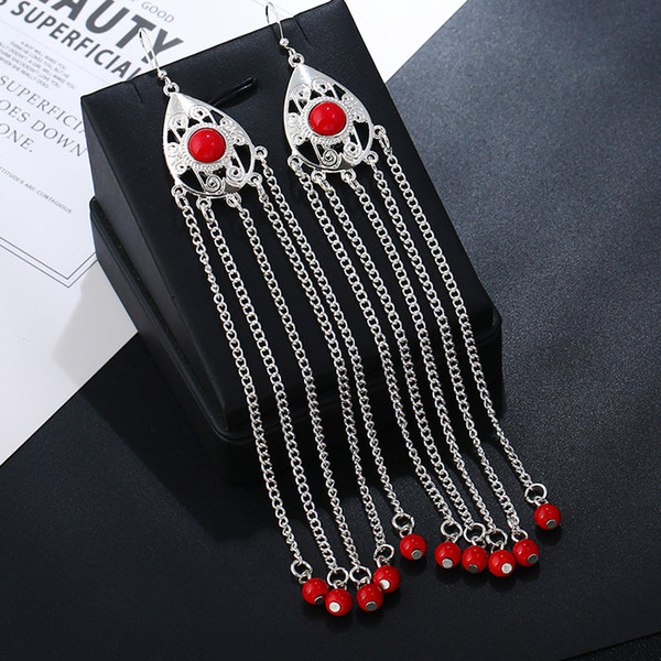 Hollow Out Water Drop Long Dangle Earrings Claws Chain Beads Tassels Drop Earrings Women Fashion Jewelry Accessories