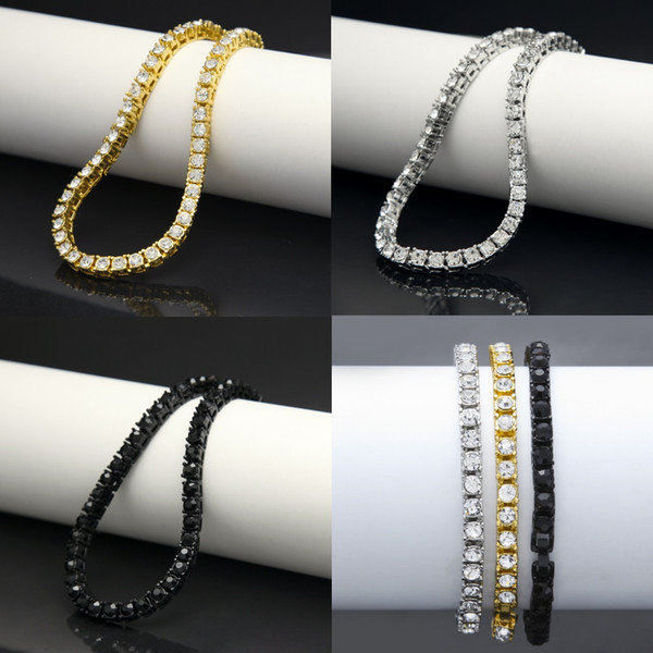 "Iced Out 1 Row Rhinestones Bracelet Men's Hip Hop Style Clear Simulated Diamond 8"" Bracelet Bling Bling"