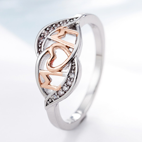 18k rose gold love mom Mum heart ring crystal diamond jewelry Tow Tone Color Shiny Rhinestone Jewelry Mother's Day gift drop ship