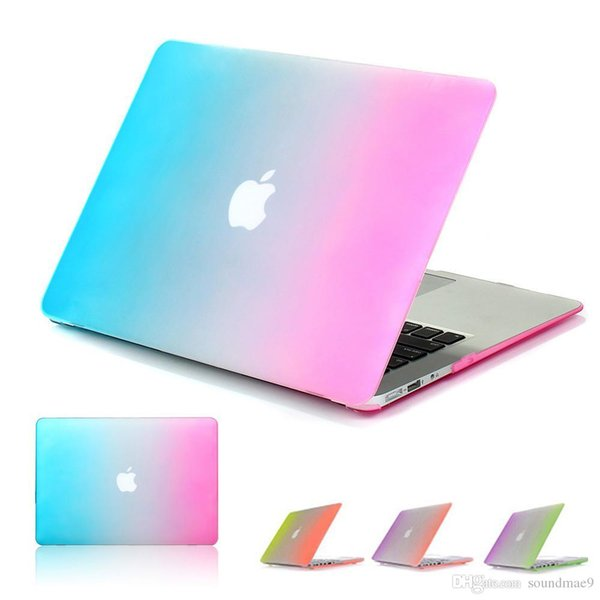 Ultrathin Rainbow Plastic Flip Laptop Shell Full Protective Case Cover Bag For Macbook Air 11.6 13.3 inch A1465 A1370 A1369 A1466