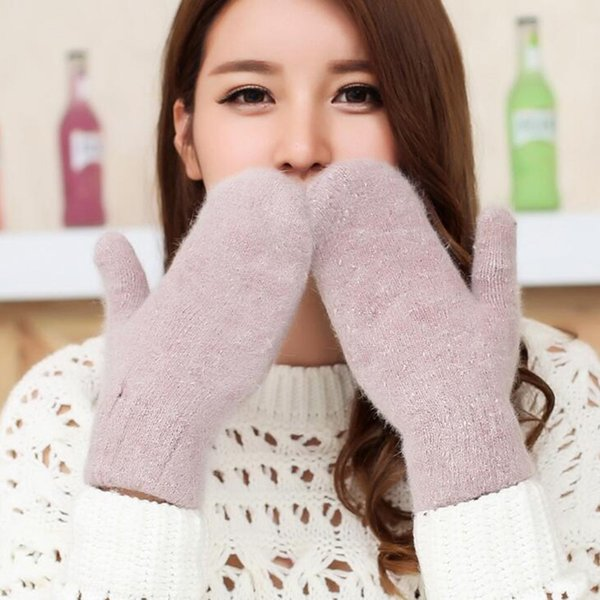 2017 New Female Winter Thick Knitted Cashmere Double Layer Plush Wool Warm Gloves Women Cute Full Fingers Gloves Mittens L80 D18110806