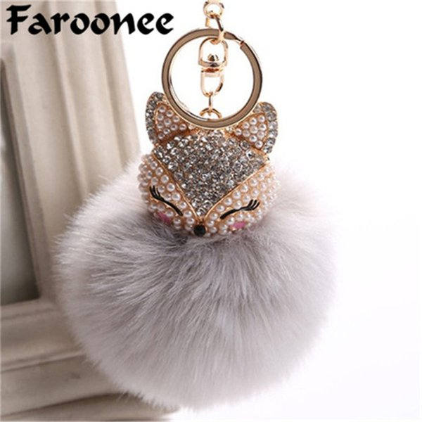 Charms Crystal Faux Fox Fur Keychain Women Trinkets Suspension On Bags Car Key Chain Key ring Toy Gifts Llaveros Jewelry 7C0394