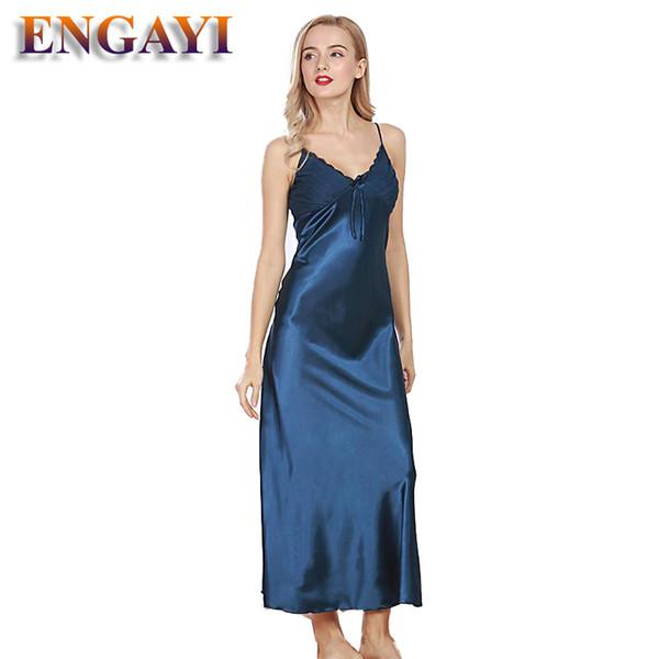 ENGAYI Brand Women Summer Night Dress Nightgown Silk Satin Nightdress Night Gown Plus Size Lace Nightwear Sexy Lingerie CQ311 S923
