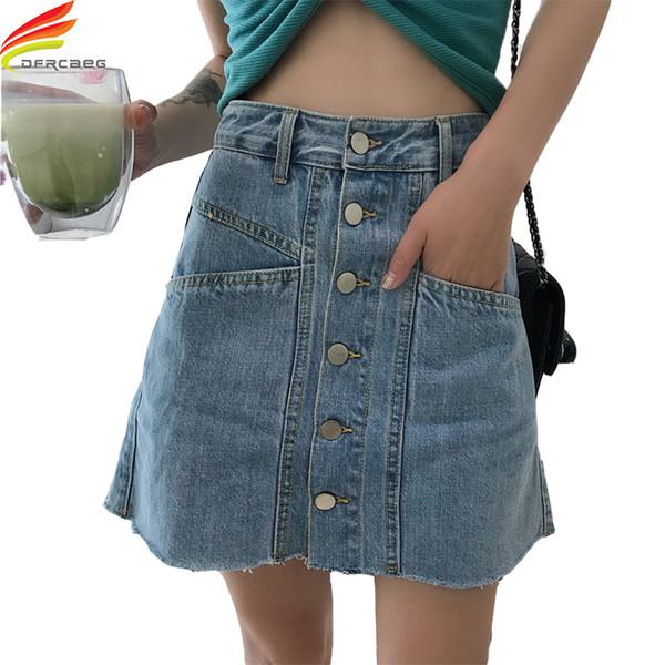ba67758ec Denim Skirts Women 2018 Summer New Single Button Double Pockets Woman A  Line Jeans Skirt Mini Korean Style Streetwear jupe femme