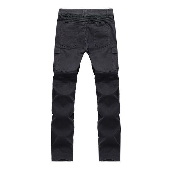 HOT 2018 Fashion High street Casual BIKER JEANS motorcycle fold elastic slim fit dance hip hop denim nightclub Zipper jeans men