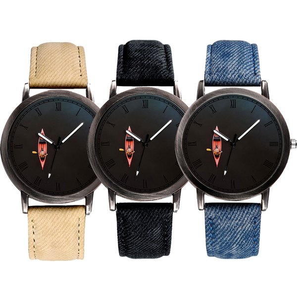 E-0012 MOQ 50pcs Private Label Leather Mens Watch OEM Manufacturer Cheap Classic Chinese Quartz Watches Red Boat Watch