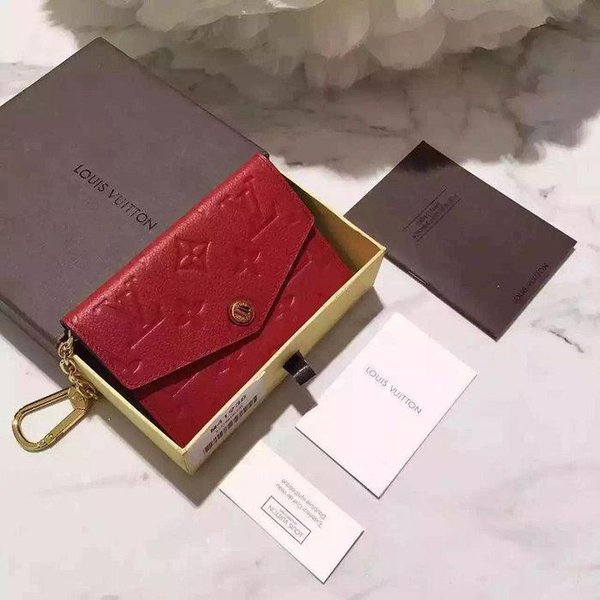 New embossed key case M60634 red WALLETS OXIDIZED LEATHER CLUTCHES EVENING LONG CHAIN WALLETS COMPACT PURSE