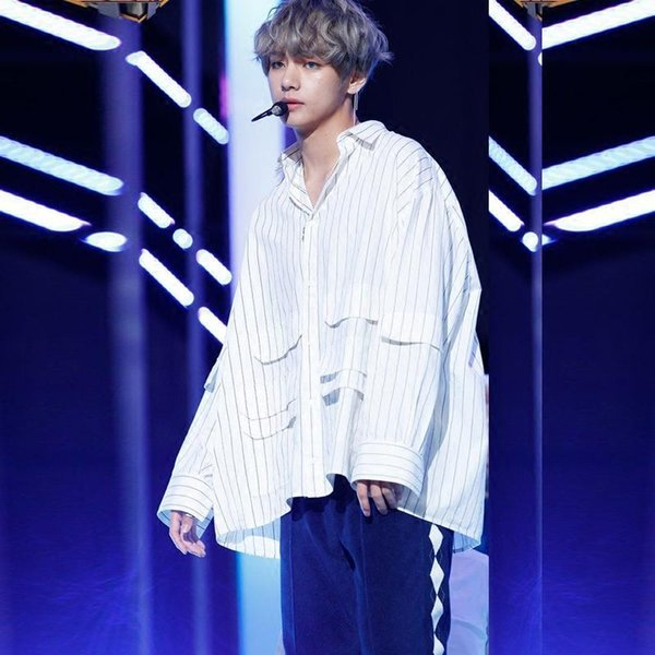 BTS V Same Unisex Fashion Striped Blouse Cool Sweatshirt Harajuku Style Pocket Striped Lightweight Shirts Well Designed