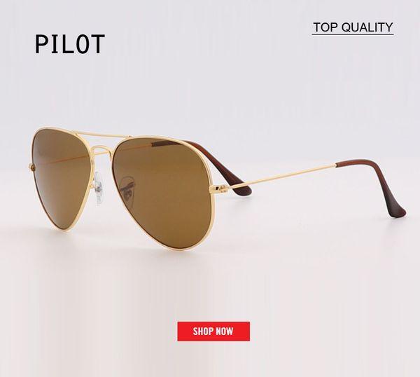 new 58mm 62 Pilot sunglasses Men Brand Designer uv protection Sunglass Women Driving black lens Sun glasses Glass Lensr Accessories gafas