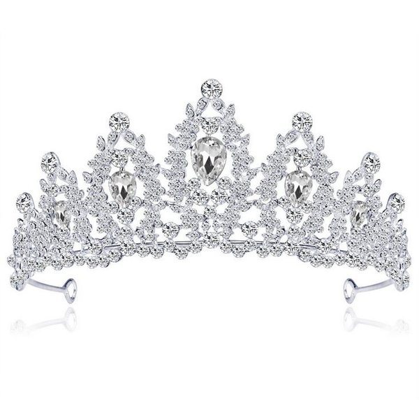 New Sparkling Silver Plated Crystal Big Wedding Crown Headband Bridal Tiara Party Show Pageant Hair Accessories