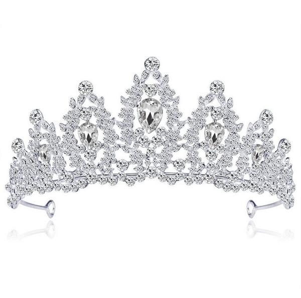 Nouveau Sparkling Argent Plaqué Cristal Grand Mariage Couronne Bandeau De Mariée Diadème Parti Afficher Pageant Cheveux Accessoires