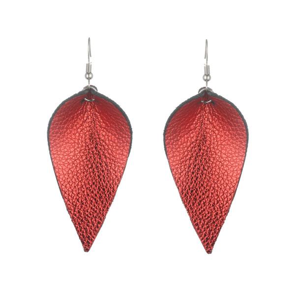 New Designer jewelry Leather leaf earrings Statement leather dangle Earrings for girl Fashion Jewelry Women multi color Earrings wholesale