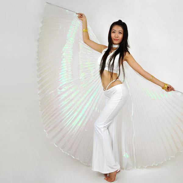 2016 nuevo estilo profesional traje de danza del vientre blanco ala danza del vientre tela transparente alas isis color dorado