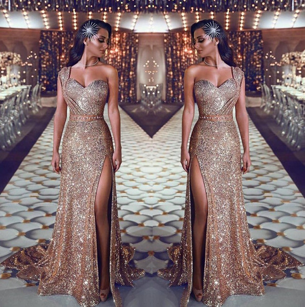 2019 One Shoulder Sequin Mermaid Evening Dresses Ruched Split Beaded Waistband Party Gowns Sweep Train Plus Size Prom Dresses