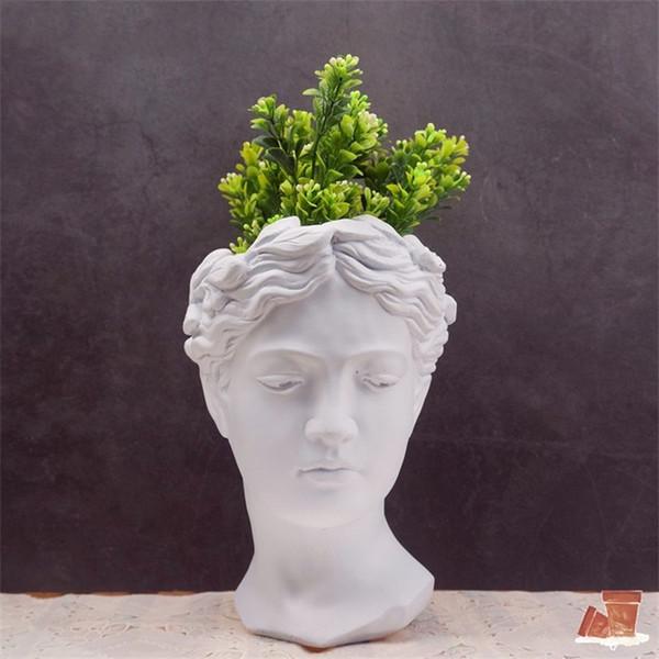 Griechenland Zement Skulptur Vasen Balkon Bunte Trockene Blumen Europäischen Stil Vase Menschlichen Kopf Blumentopf Wohnkultur Großhandel 25xh2 gg