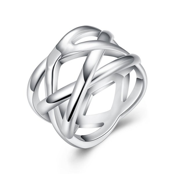 New Ladies Rings Cross The Pattern Of Fish Net Ring Viking Set Rings For Women Vampire Diaries Stainless Steel Ring Set