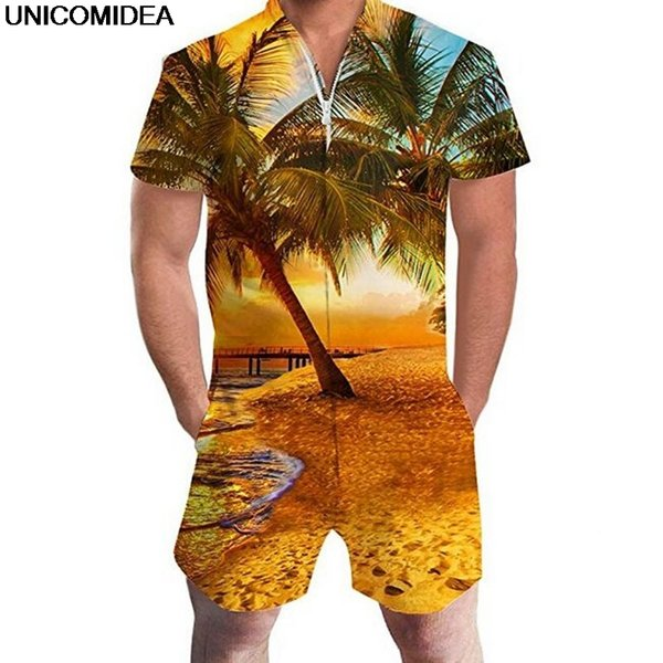 Hawaiian Beach 3D Print Coconut Tree Men Rompers Sunset Jumpsuit Summer Hoiday Playsuit Overalls One Piece Slim Fit Men's Sets