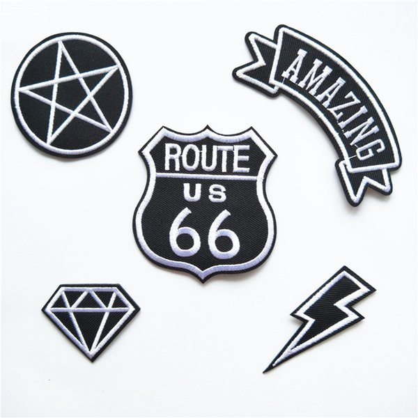 top popular Vintage 66 Lightning Diamond Embroidery Patches For Clothing American Style Sew Iron On Applique Patch DIY Badge Jeans Garment Decoration 2019