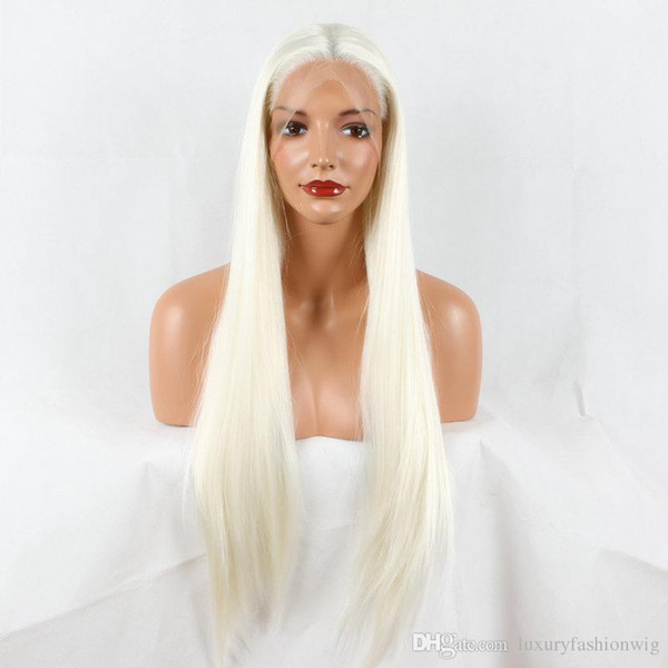 Lace Front Wigs New Natural Wave Blonde White Mixed Color Synthetic Lace Front Wigs Cosplay Heat Resistant Wave Wig For Women Soft Hair