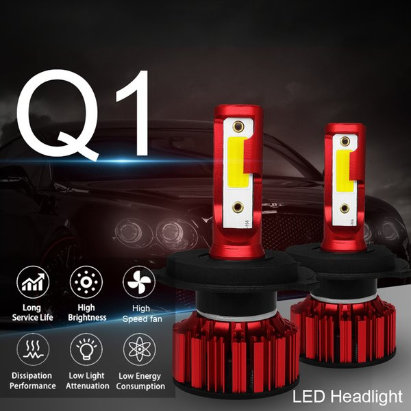 Winsun Q1 H4 H7 H11 H1 H3 9005 9006 COB chip Car LED Headlight Bulbs Hi-Lo Beam 50W 6000LM 6000K Auto Headlamp Fog Light Bulb DC 9v 36v Q1