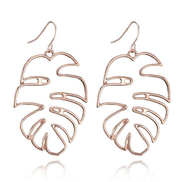 Boho Vintage Statement Earring Girl Large Earrings Hollow Coconut leaf Earrings For Women Indian Jewelry