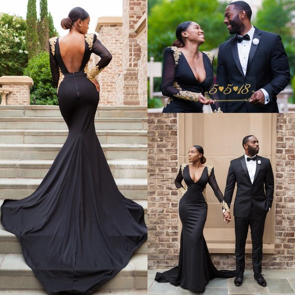 2018 New Arabic Sexy Black Deep V Neck Mermaid Prom Dresses Sheer Long Sleeves Sexy Back Evening Party Gowns Long Sweep Train Vestidos