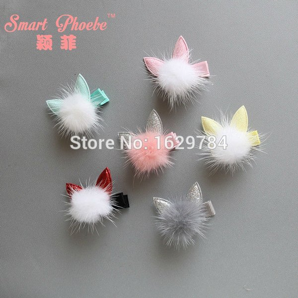 30pcs 6c Fashion Cute Rabbit Ear Fur Ball Pom Pom Girls Hairpins Solid Kawaii Glitter Hair Bow Clips Hair Accessories