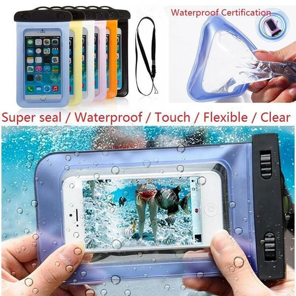 Sealed Waterproof Case Universal For iPhone X 8 7 6S Plus Mobile Phones Waterproof Dry Cell Neck Pouch Bags For Samsung S7 edge S8 Plus