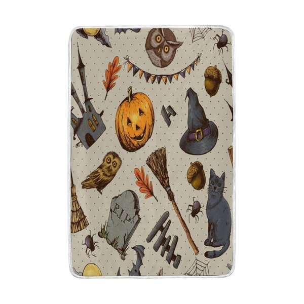 Vintage Halloween Pumpkin Owl Cat Blanket Soft Warm Cozy Bed Couch Lightweight Polyester Microfiber Blanket