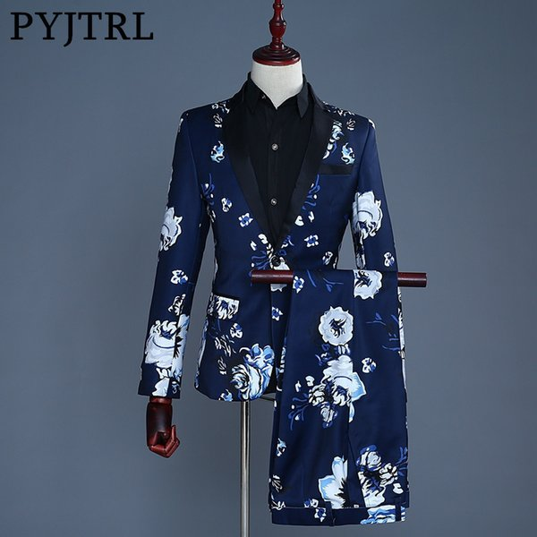 PYJTRL Brand 2018 Tide Men Navy Blue Floral Print Fashion Casual Suits Latest Coat Pant Designs Wedding Groom Stage Costume S18101903