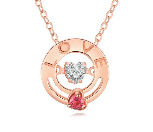 Love Heart Beat Necklace Real 925 Sterling Silver Rose Gold Simple Pendant Necklaces with Cubic Zircon Factory Direct