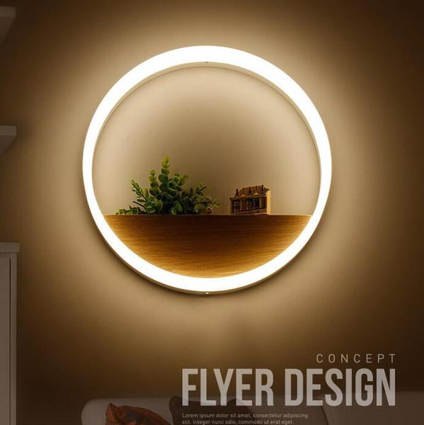 LED Duvar Lambası Yuvarlak Duvar Işık Akrilik Halka Lobi Yatak Odası Otel Koridor Restoran Yemek Odası Bar Dekorasyon Yenilik Öğeleri OOA5029