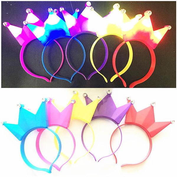 Crown Hairband Party Rave Giocattoli Illuminazione Diavolo Fascia per capelli Forcina per adulti Bambini Halloween Natale Pasqua Compleanno Concerto Feste per il tifo