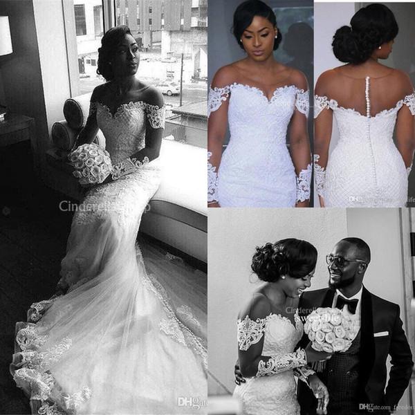 Gorgeous African Mermaid Wedding Dresses 2019 Long Sleeves Appliques Court Train Nigerian Arabic Bridal Gowns Vestidos De Novia Plus Size