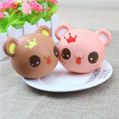 Cartoon Crown Bear Head Squishy Cute 9.5cm Jumbo Slow Rising Phone Straps Cartoon Cream Scented Bread Kid Fun Toy Gift Free Shipping