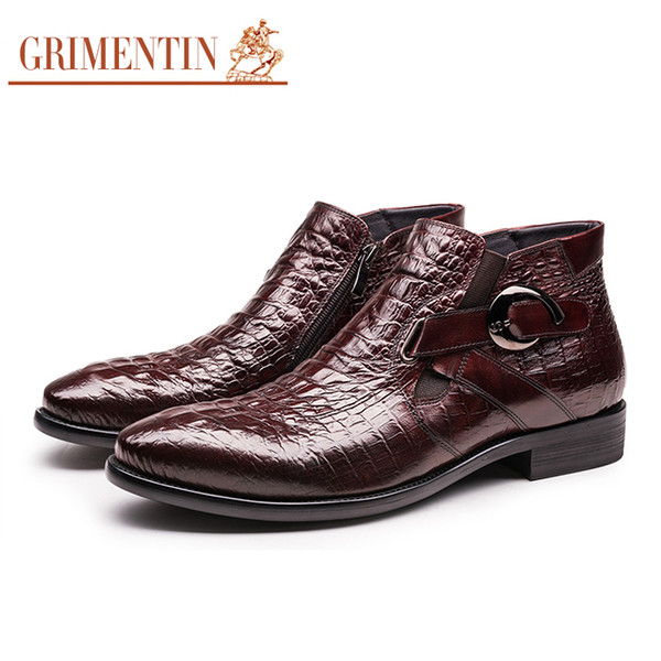 GRIMENTIN Italian fashion ankle boots men shoes genuine leather black brown winter boots mens dress shoes for business wedding