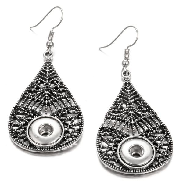 Noosa Snap Earrings Jewelry retro black 12mm Snap Button Earrings DIY Noosa Chunk dangle drop Earrings for Girl Gift