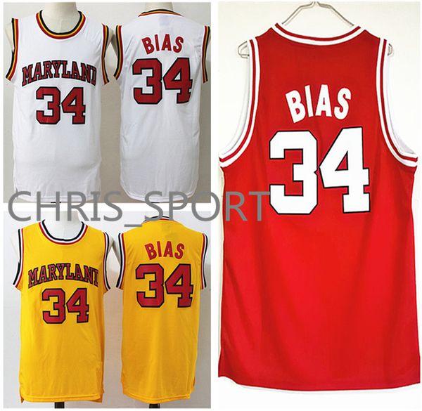 Maryland College Basketball Jerseys horse 34 Leonard Bias red/white/yellow University Wildcats high school game uniform