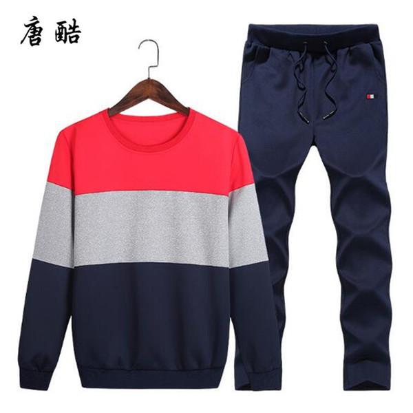 top popular Plus Size 4XL Casual Men's Sportswear Set 2 Pieces Set Sweat shirts Men's Suits Mens Design Tracksuit Sets 2019