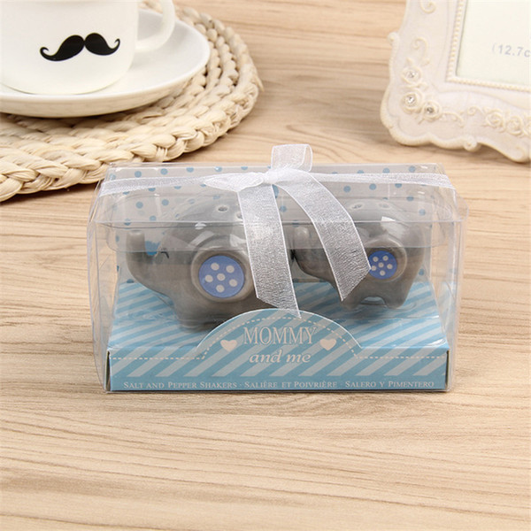 Mommy and Me - Little Peanut Elephant ceramic Salt and Pepper Shaker Wedding Favor Baby shower favor Romantic Giveaway Present with Gift box