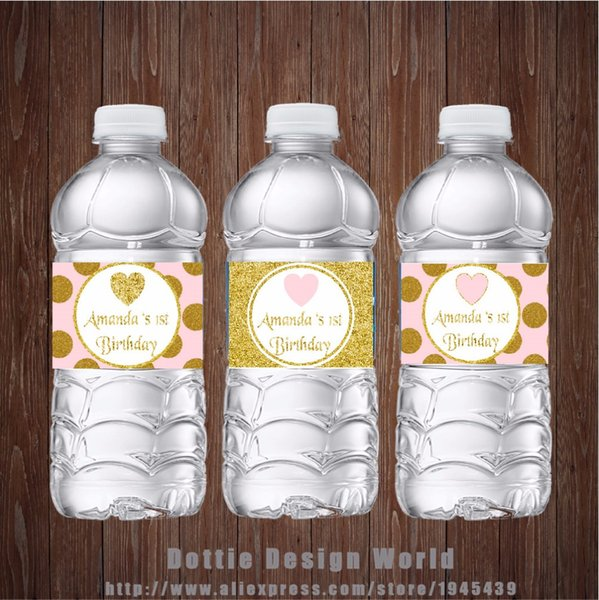 20 Pcs /Lot Princess Party Water Bottle Labels Gold Pink Glitter Heart Candy Bar Birthday Baby Shower Party Decoration Supplier